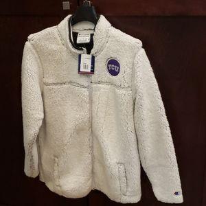 NWT TCU Champion fuzzy fleece jacket Size L